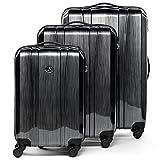 FERGÉ Kofferset Hartschale 3-teilig Dijon Trolley-Set - Handgepäck 55 cm, L und XL 3er Set Hartschalenkoffer Roll-Koffer 4 Rollen 100% ABS & PC Silber