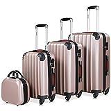 Monzana® Baseline 4er Set Koffer Rose-Gold |Beautycase M, L, XL|Gelgriffe Zahlenschloss| Reisekoffer Trolley Kofferset Rollkoffer
